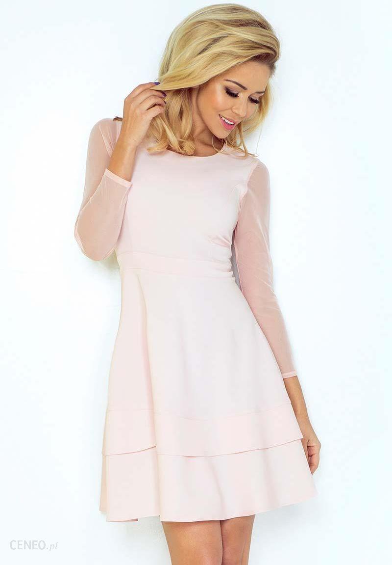 f85c97c598 Numoco Różowa Sukienka Wizytowa Rozkloszowana z Transparentnymi Rękawami -  zdjęcie 1