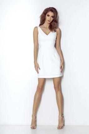 7323c10a Wow Point Białą Wizytowa Trapezowa Sukienka Koronkowa z Dzwonkowym ...