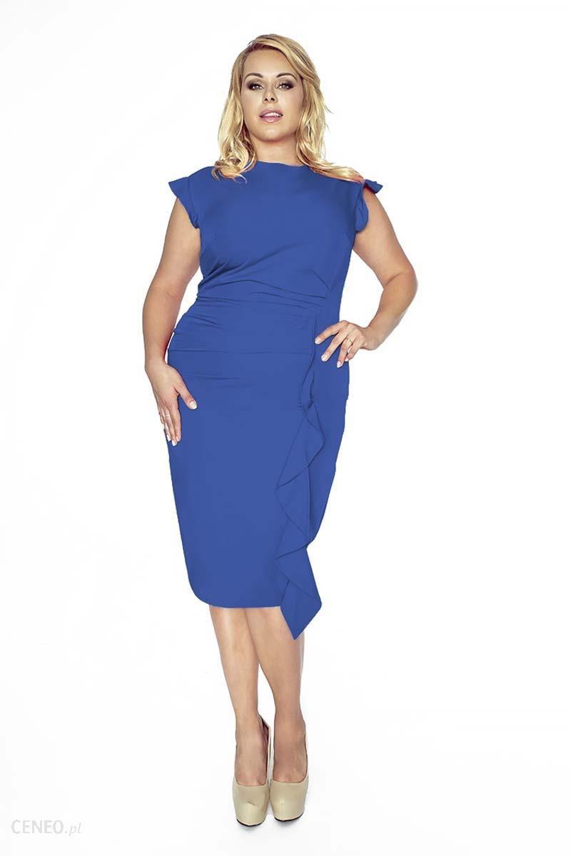 dcbebec0bb Kartes Moda Stylowa Niebieska Sukienka z Falbanką PLUS SIZE - Ceny i ...