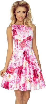 0d6382b4cc Numoco Sukienka w Róże Rozkloszowana bez Rękawów z Dekoltem w Łódkę