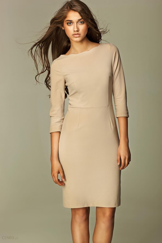 fdd57d6869 Nife Szykowna Beżowa Sukienka Midi z Rękawem 3 4 - Ceny i opinie ...