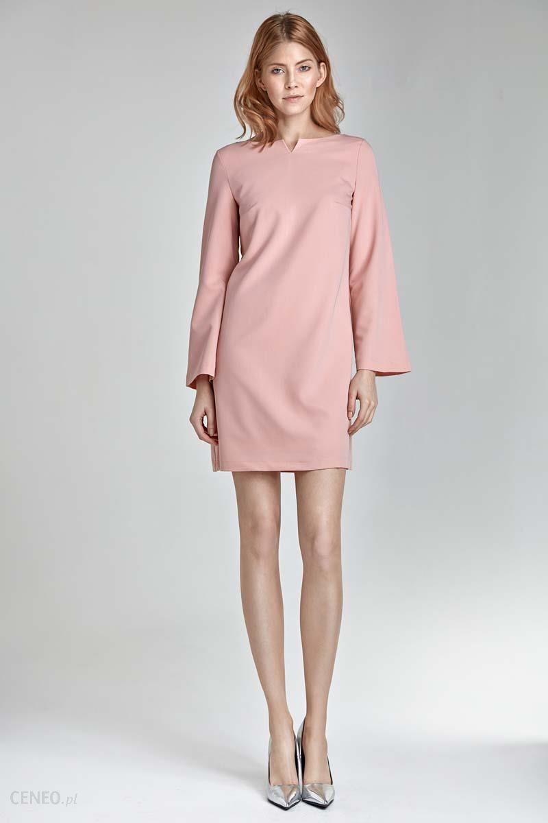 53ea58c327 Nife Trapezowa Różowa Sukienka z Rękawem 7 8 - Ceny i opinie - Ceneo.pl