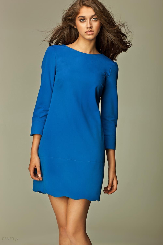 39f2980b9f Nife Wyjątkowa Niebieska Sukienka z Dekoltem na Plecach - Ceny i ...
