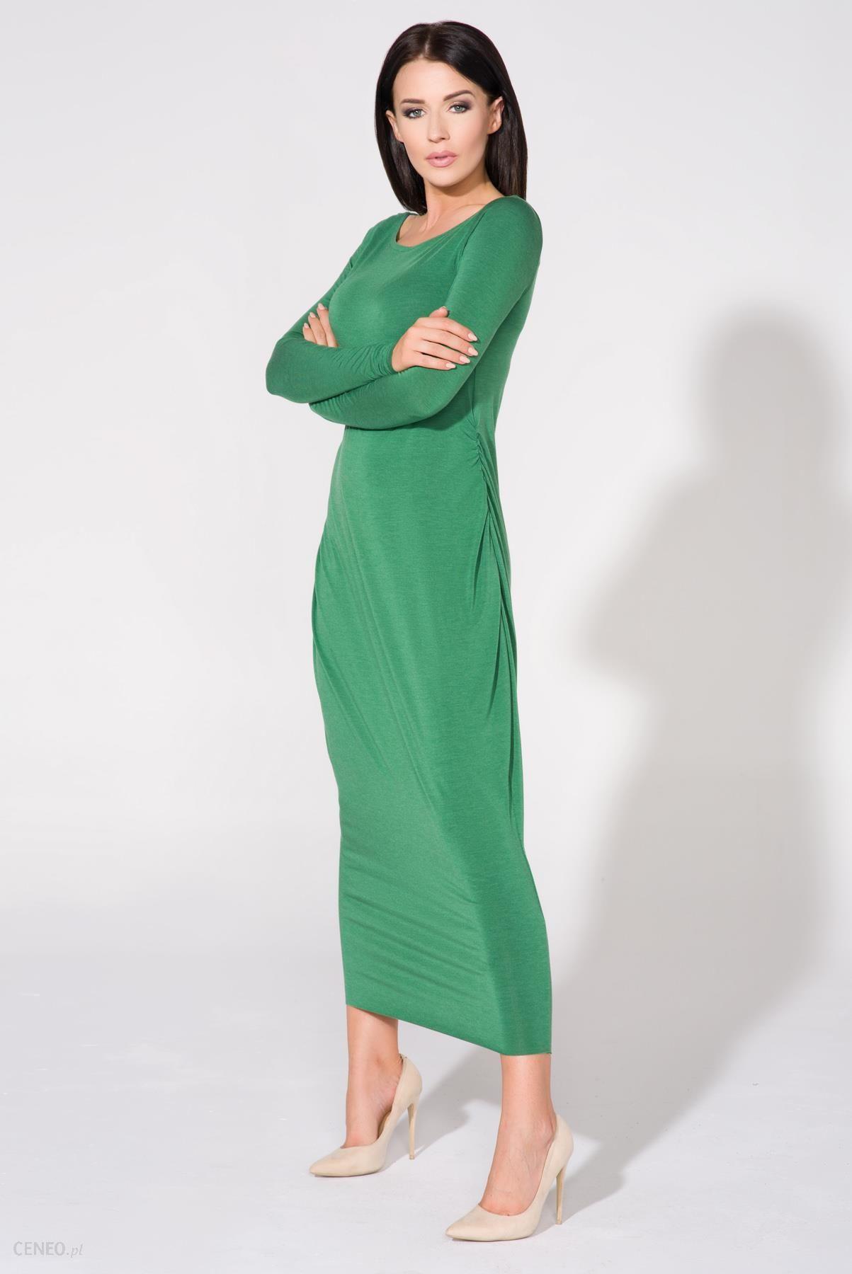 947f8b7b75 Tessita Zielona Sukienka Dzianinowa Maxi Drapowana na Boku - Ceny i ...
