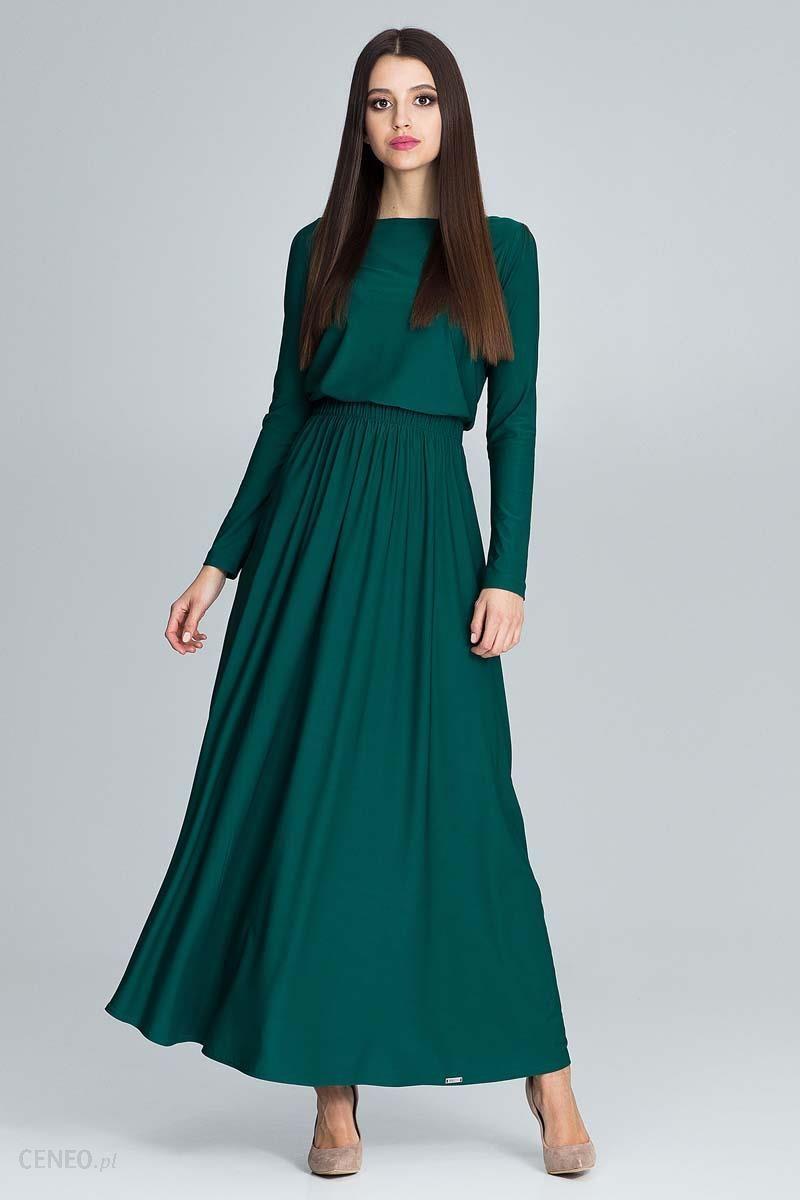 6e8f6c359f Figl Zielona Zwiewna Sukienka Maxi z Podkreślona Talią - Ceny i ...