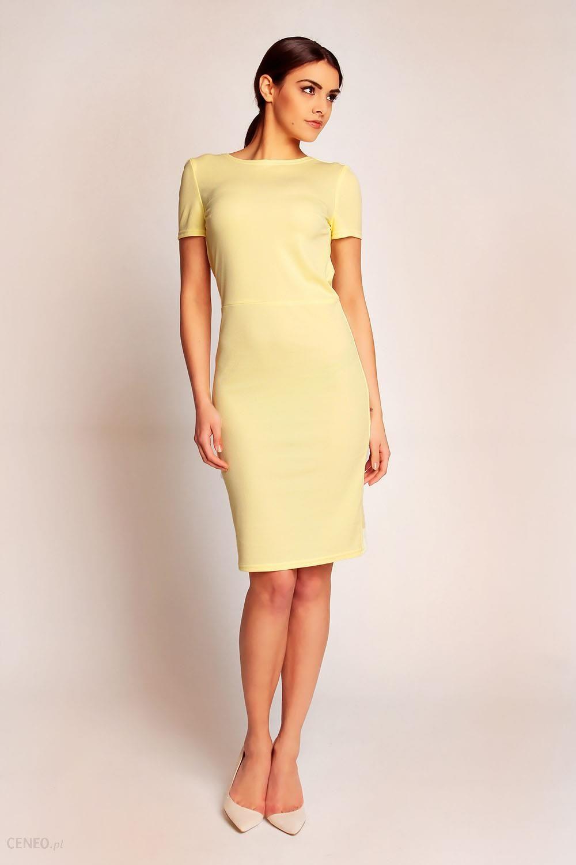 c9855e1cce SALE Żółta Elegancka Sukienka przed Kolano z Dekoltem Typu Woda na Plecach  - zdjęcie 1