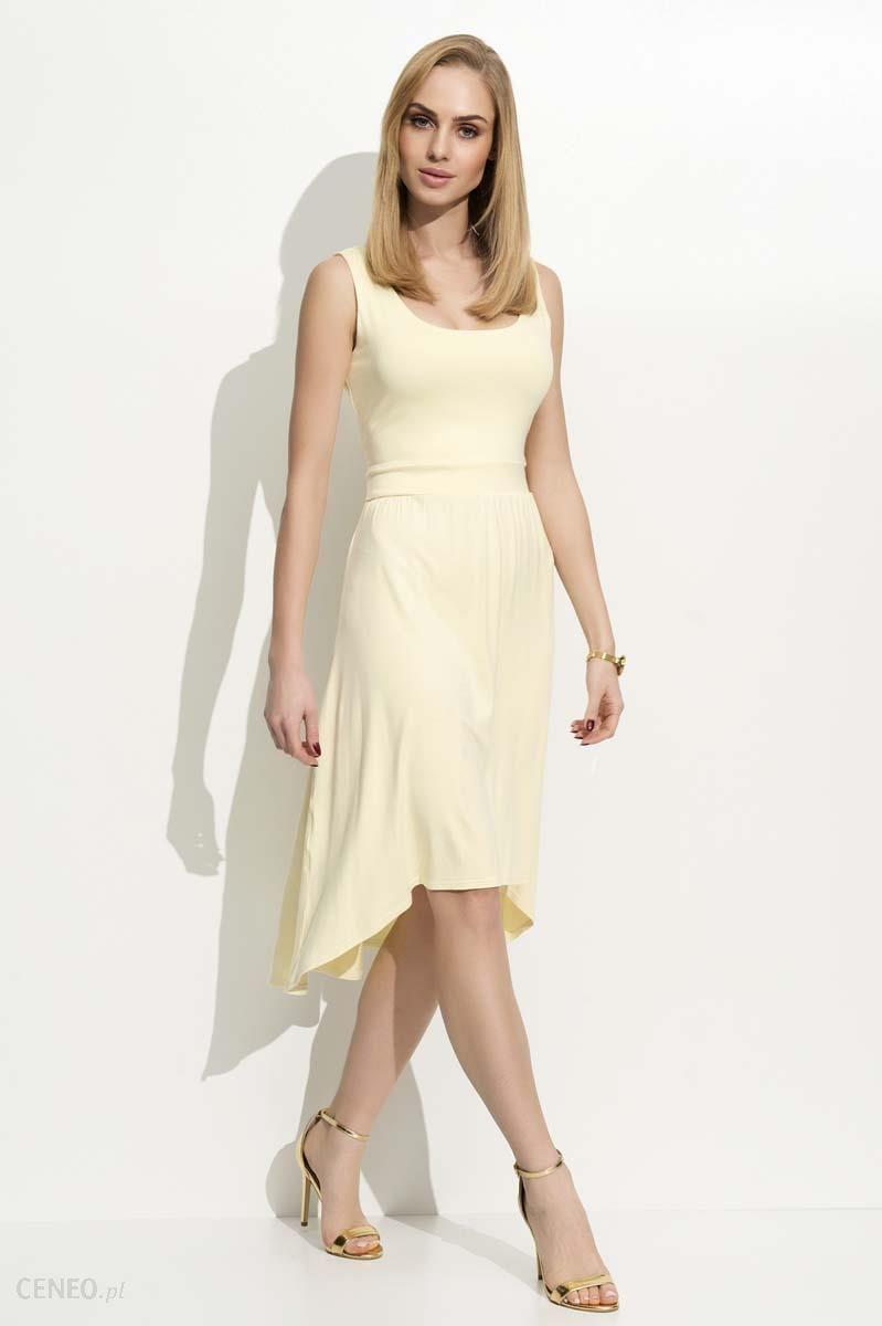 0cd604a9cd Makadamia Żółta Sukienka Asymetryczna na Szerokich Ramiączkach - zdjęcie 1
