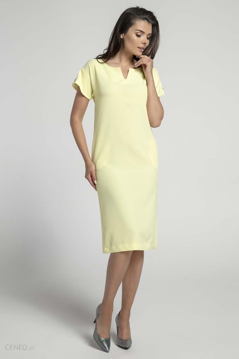 7d0405a55b Nommo Żółta Nowoczesna Sukienka za Kolano z Aplikacją na Rękawach - zdjęcie  1
