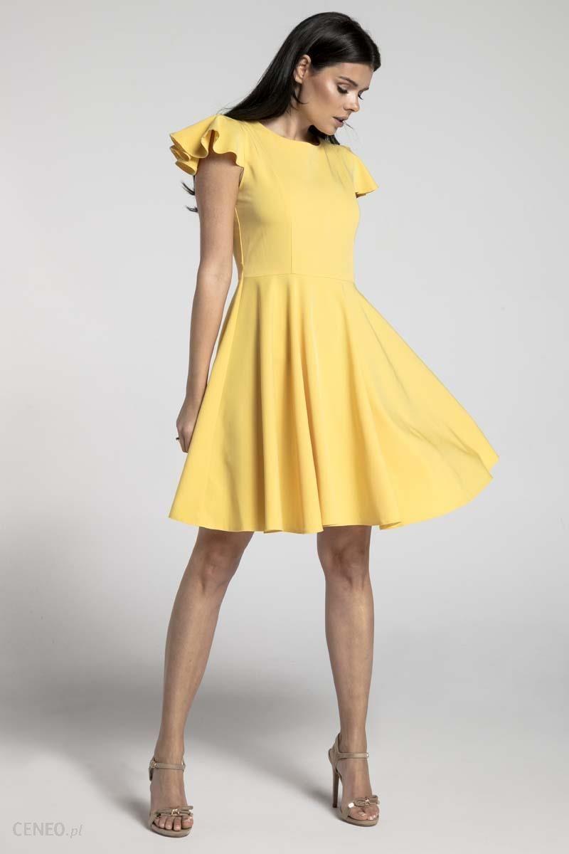 f7653f121b Nommo Żółta Rozkloszowana Sukienka z Rękawkiem Typu Motylek - Ceny i ...