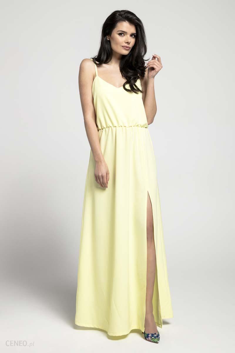 128affe3f6 Nommo Żółta Zwiewna Maxi Sukienka na Cienkich Ramiączkach z Rozcięciem -  zdjęcie 1