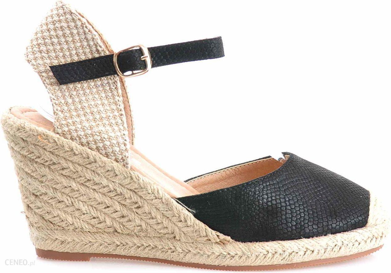 e148f5a4 Pantofelek24.pl , Czarne sandały espadryle na koturnie - Ceny i ...