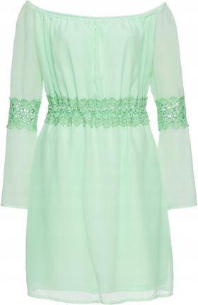 eccfcec5db Sukienka z koronkową wstawk zielony 46 3XL 916122 - Ceny i opinie ...
