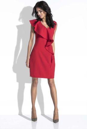 182072d829 SALE Czerwona Sukienka bez Rękawów z Asymetryczną Falbanką