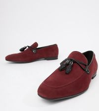 024ddb35458 ASOS DESIGN Wide Fit vegan friendly loafers in burgundy faux suede with  tassel - Tan