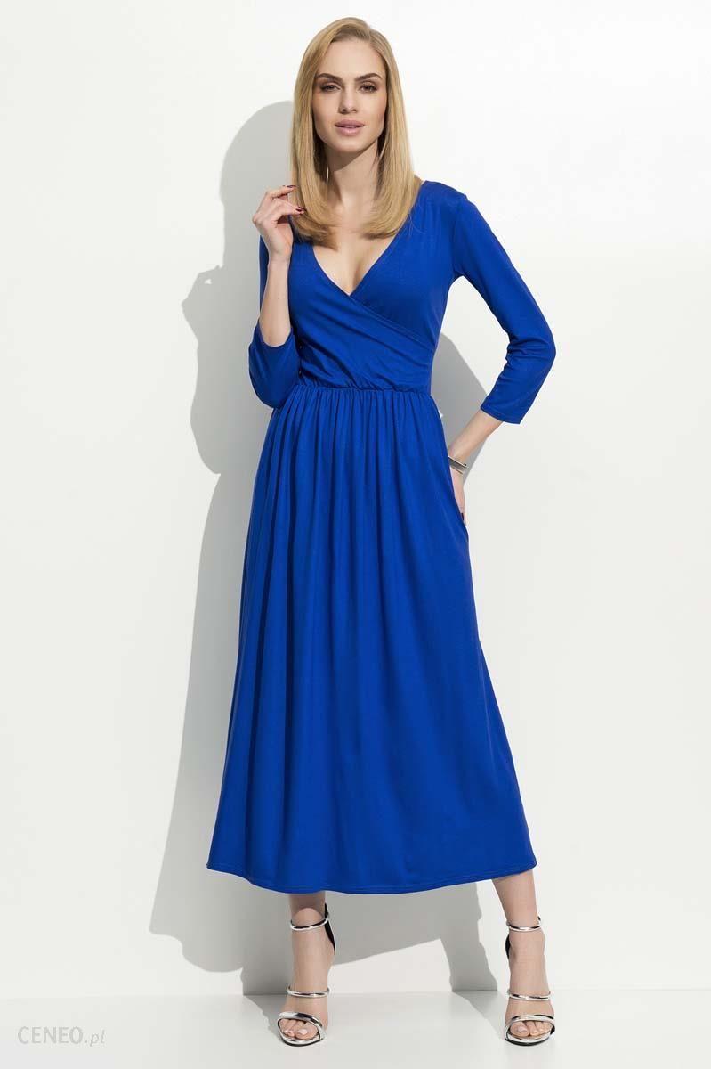 aec7a5e612 Makadamia Chabrowa Sukienka Wizytowa Długa z Kopertowym Dekoltem - zdjęcie 1