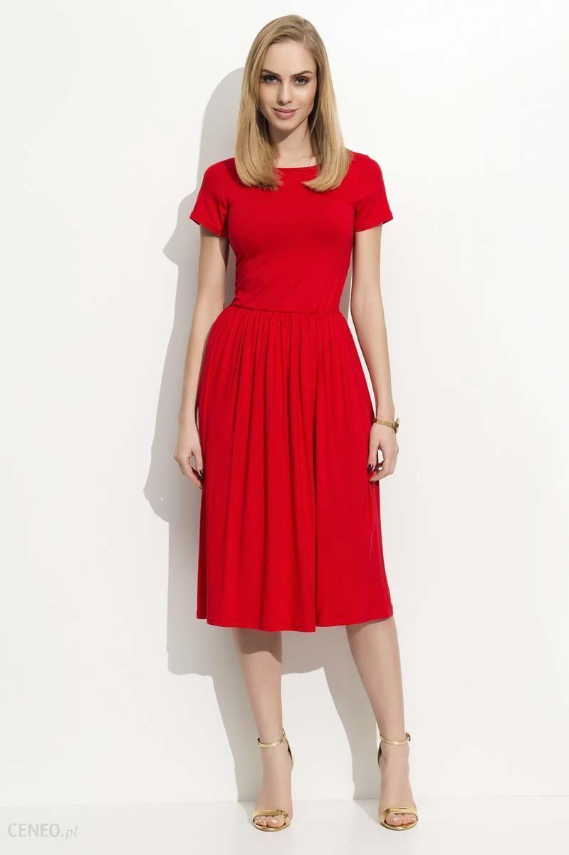 b0b94490f8 Makadamia Czerwona Sukienka Klasyczna Rozkloszowana z Krótkim Rękawem -  zdjęcie 1