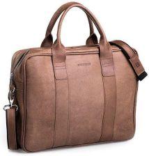 46a9a00ae84e2 Skórzana torba męska na ramię BRODRENE BL01 jasnobrazowa - j. brązowy