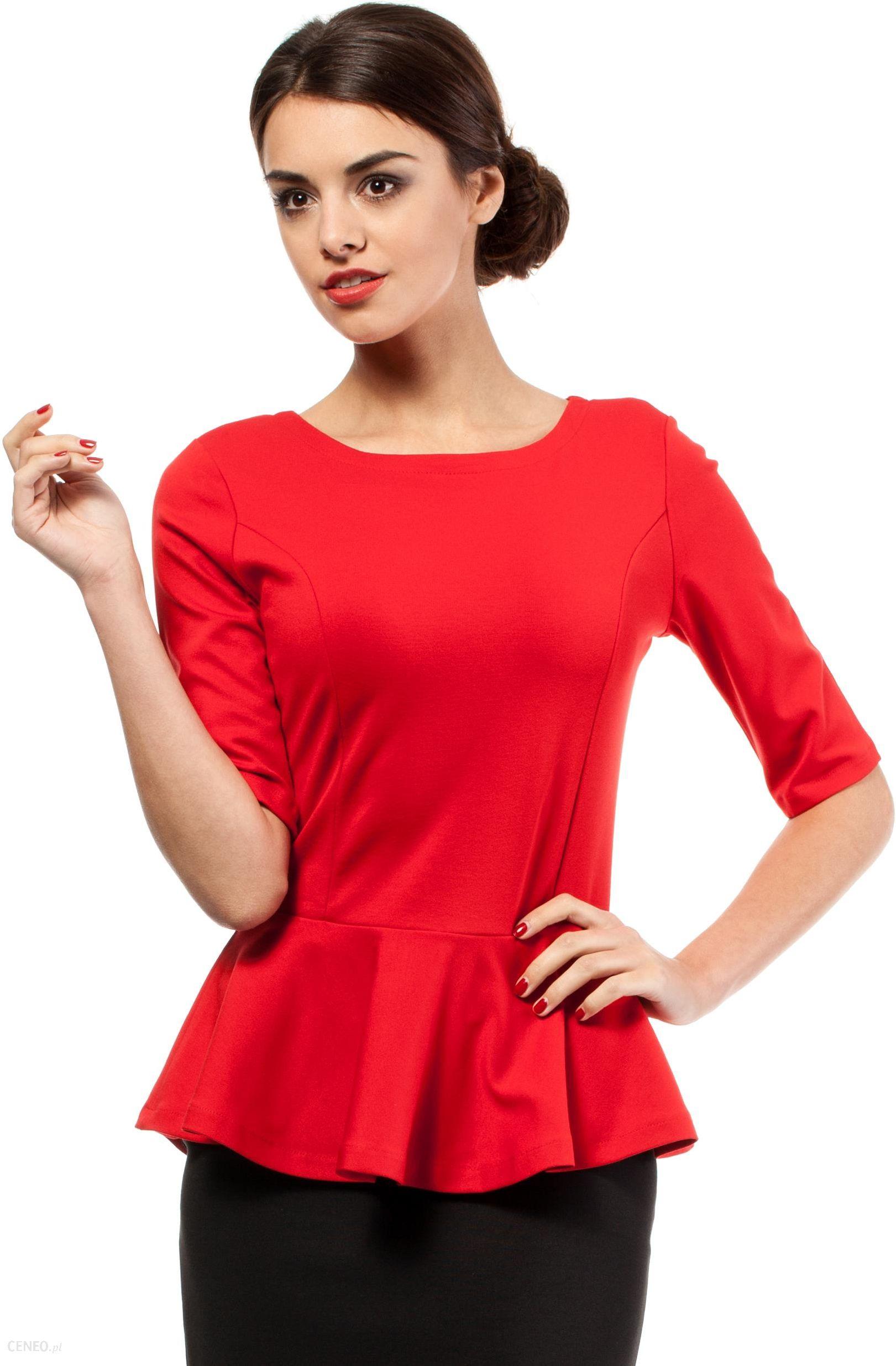 52a349522a Elegancka bluzka z baskinką MOE007 czerwona - Ceny i opinie - Ceneo.pl