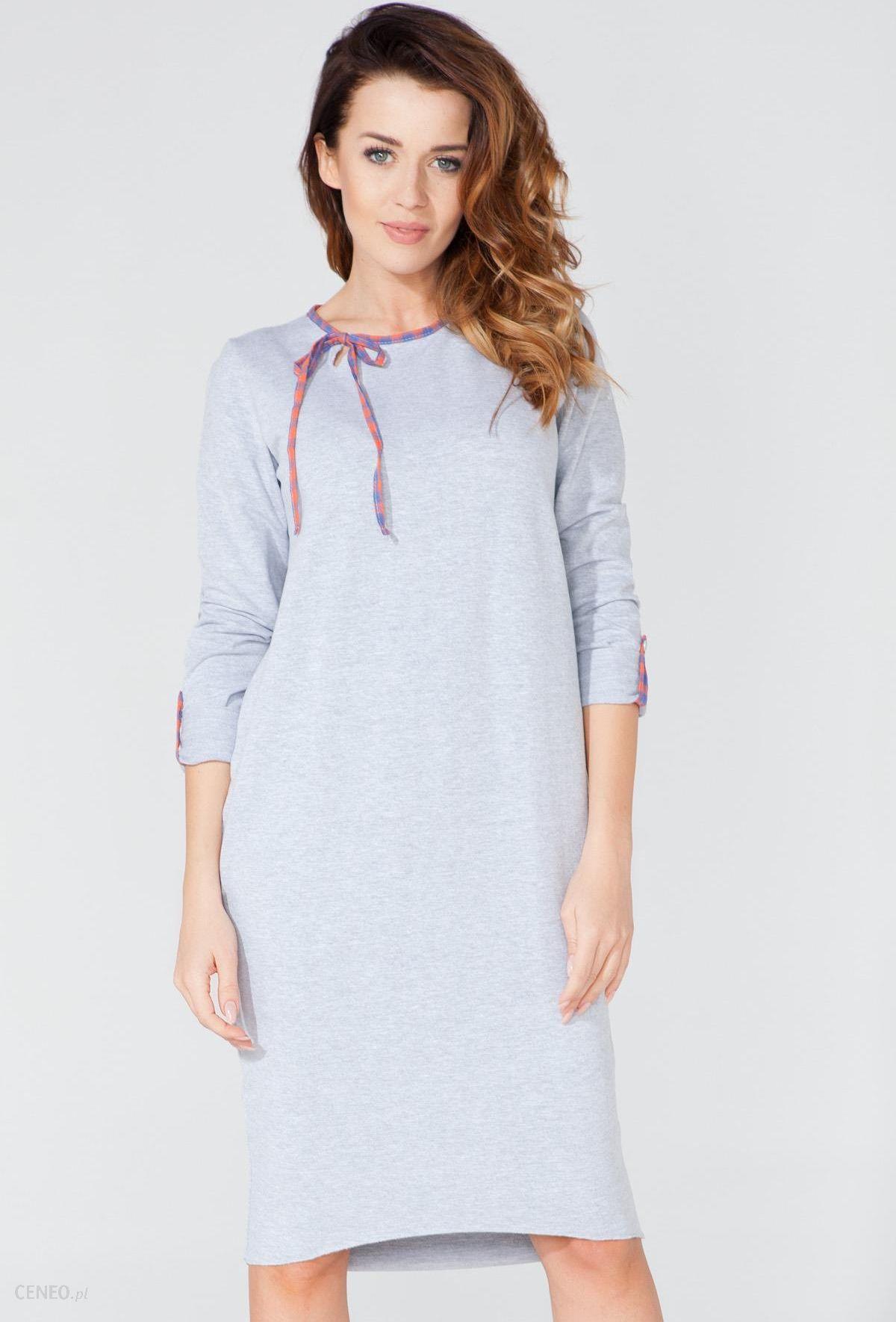 62c99765c6 Długa bawełniana sukienka tuba szara T106 - Ceny i opinie - Ceneo.pl