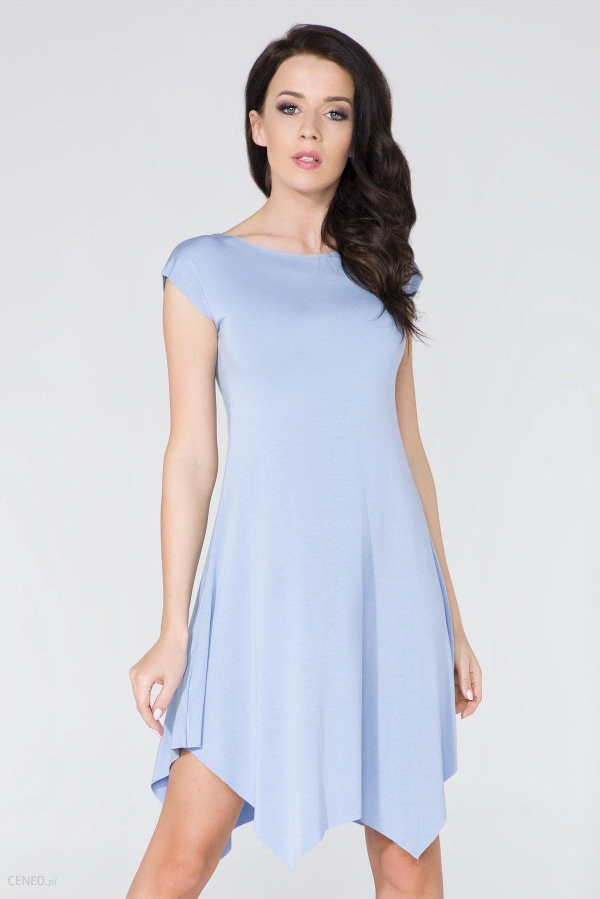 8ac031c815 Letnia asymetryczna sukienka z lejącej dzianiny niebieska T137 - zdjęcie 1