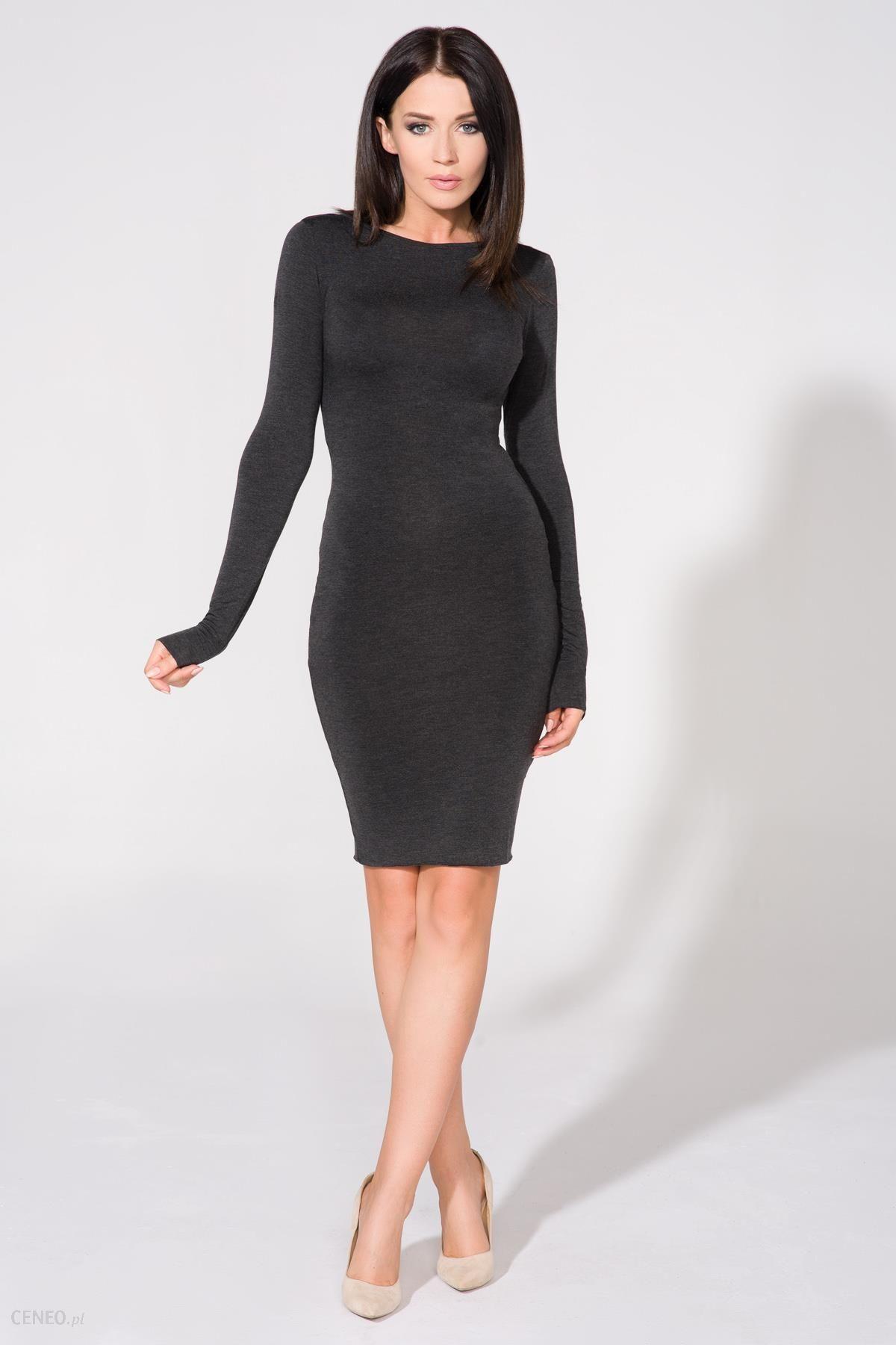 Obcisła krótka sukienka z długim rękawem i dekoltem na plecach ciemnoszara T140 Ceny i opinie Ceneo.pl