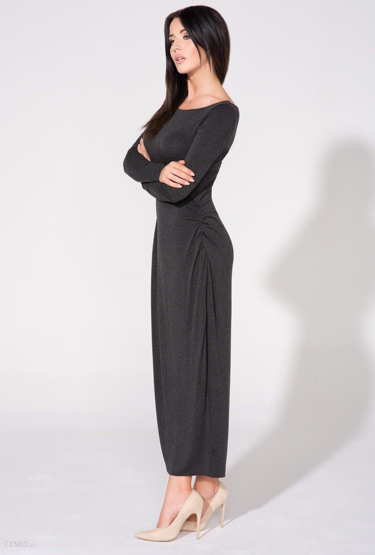 632722bedf Sukienka maxi z długim rękawem ciemnoszara T143 - Ceny i opinie ...