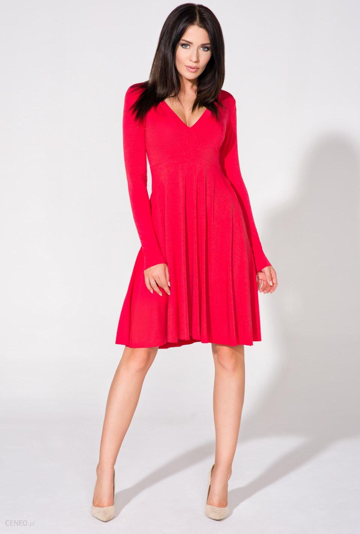 bc0a4c6b01 Rozkloszowana sukienka do kolan z długim rękawem czerwona T146 - zdjęcie 1