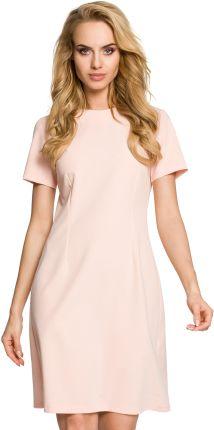 42e6bd401007 Krótka sukienka trapezowa z dekoltem kontrafałdą na plecach pudrowy róż M309