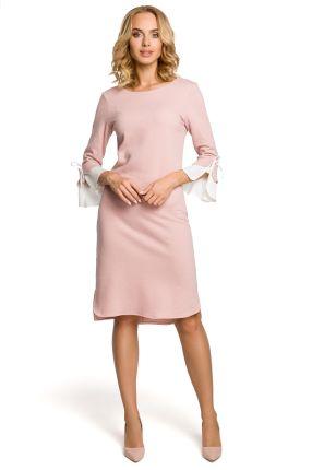 017815763d Bawełniana wygodna sukienka na co dzień z wyjątkowymi rękawami różowa M327
