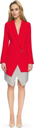 7d27116517533 Długa asymetryczna elegancka marynarka damska czerwona S061