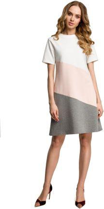 b986719d47 Luźna sukienka mini z krótkim rękawem 3 kolory brzoskwiniowa M373