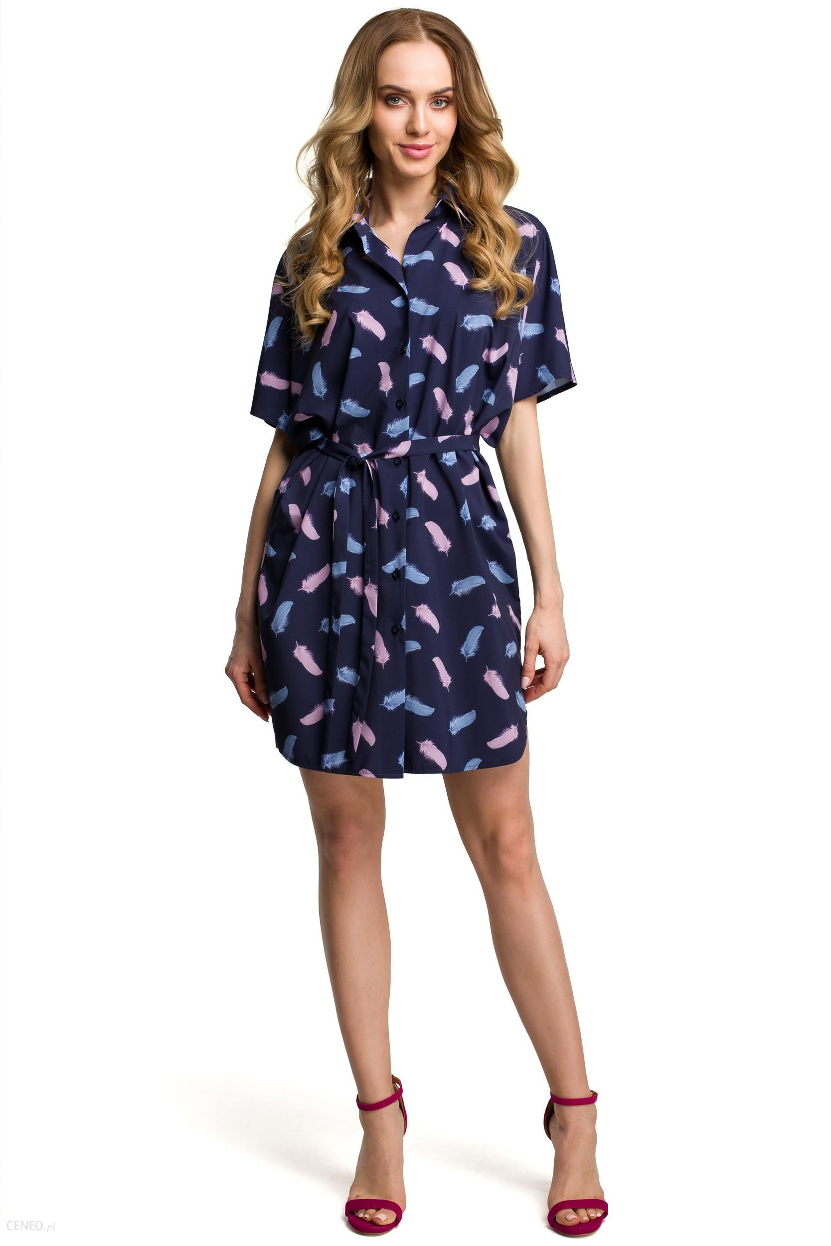 d70dc0df85 Sukienka koszulowa na lato print w piórka granatowa M385 - Ceny i ...