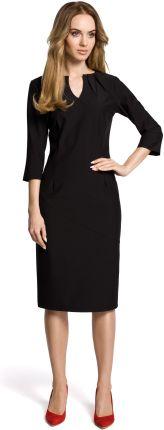 ddd2c7f32c Elegancka ołówkowa sukienka z rękawem 3 4 do pracy czarna M366 ...