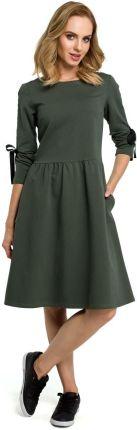 aebb9f968e MOE Zielona Klasyczna Rozkloszowana Sukienka z Lampasem