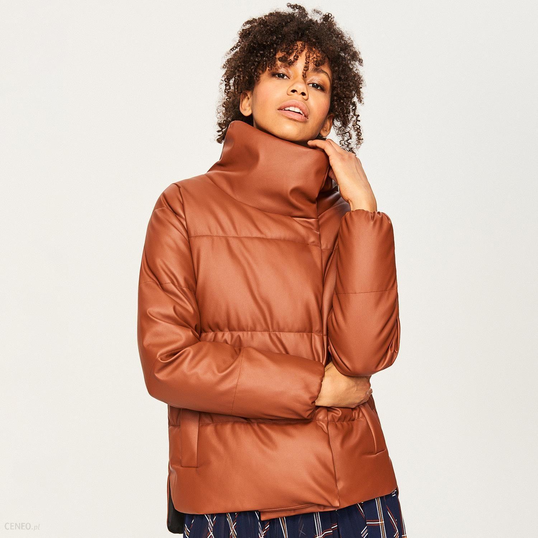 kurtka pikowana damska brązowa