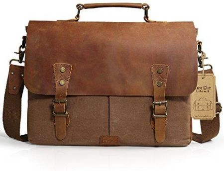 a67b5ec6c9731 Amazon lifewit torba na laptop notebook Vintage Messenger Bag torba na  ramię aktówka torba na ramię