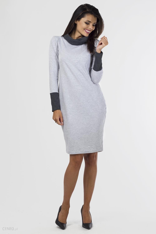 9fd3fba06a Sukienka dzianinowa K-050 Light Gray Melange Grafit 40 42 - Ceny i ...