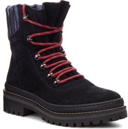 50b47f4be6c05 Trapery TOMMY HILFIGER - Modern Hiking Boot Suede FW0FW03048 Midnight 403  eobuwie