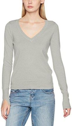 Amazon Vero Moda damska bluza vmhappy LS V-Neck blouse Boo, kolor: szary (Light Grey Melange) , rozmiar: 36 (rozmiar producenta: S)