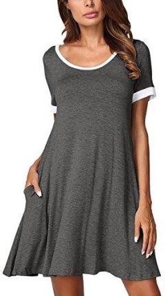 66b49a0e5a Amazon djt damski T-Shirt z krótkim rękawem Casual luzem Mini sukienka  okrągły dekolt letnia