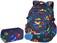 4b85de7db0533 Patio Zestaw Coolpack Rainbow Hearts Plecak Factor + Piórnik Primus