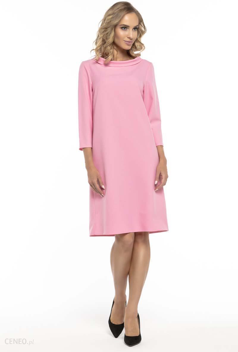 38f0bb2afa Tessita Trapezowa Różowa Sukienka z Kołnierzykiem JACKIE KENNEDY - zdjęcie 1