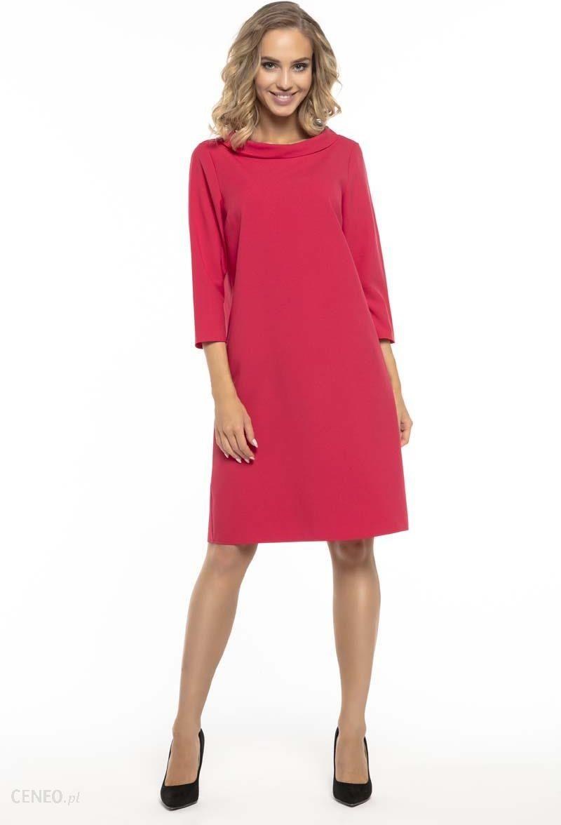 5cc2e8ebf2d975 Tessita Trapezowa Czerwona Sukienka z Kołnierzykiem JACKIE KENNEDY -  zdjęcie 1