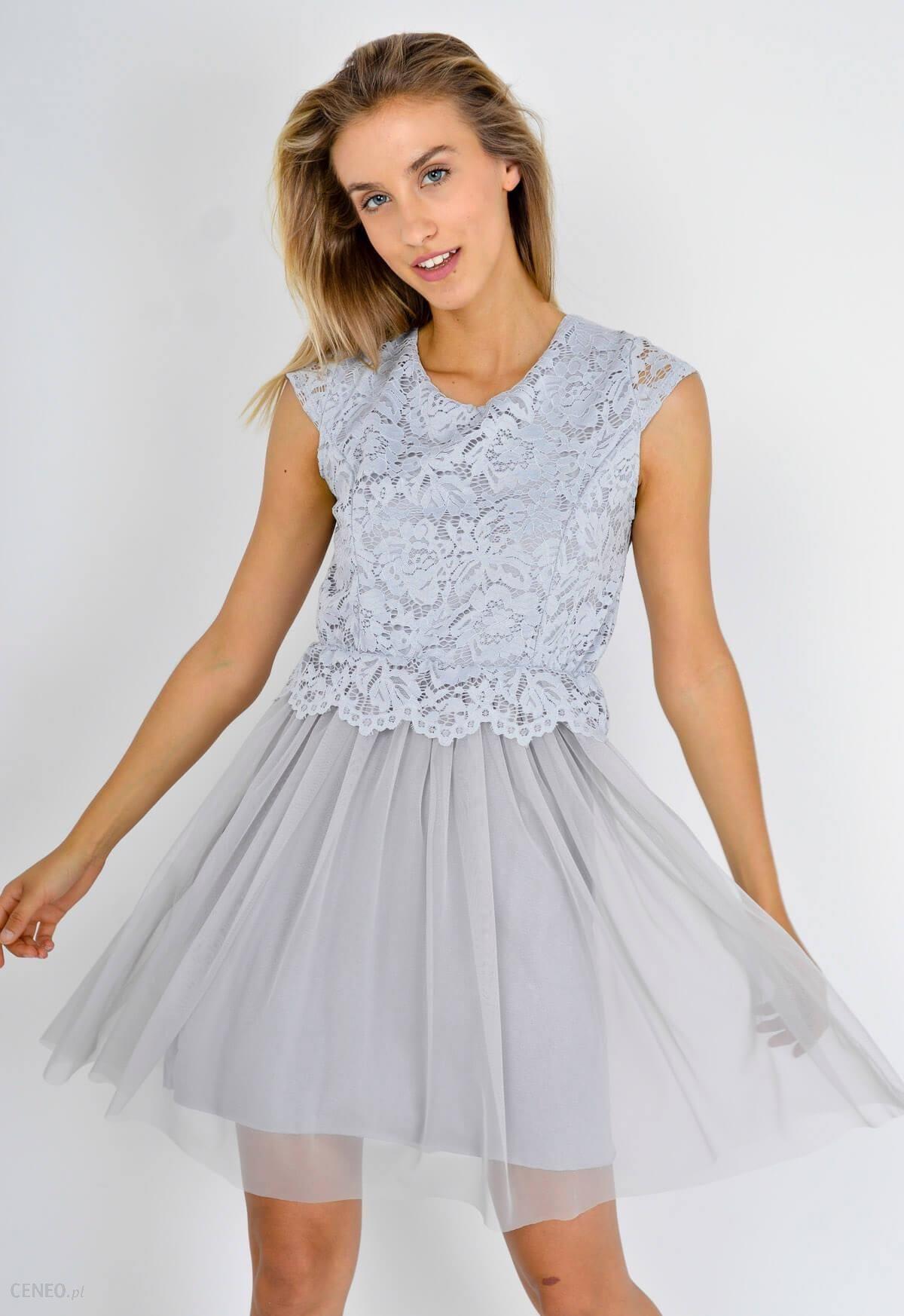 1489d5c7551e Sukienka mały rękaw koronkowa góra tiulowy dół - Ceny i opinie ...
