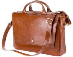 6ca1e6e7df19f Skórzana torba aktówka damska na laptopa FELICE brązowa - Brązowy Vintage