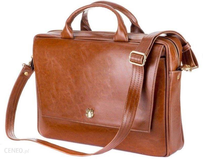 f1b912450baf7 Skórzana torba aktówka damska na laptopa FELICE brązowa - Brązowy Vintage -  zdjęcie 1