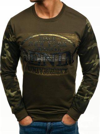 Bluza męska z nadrukiem i naszywkami antracytowa (bx3401