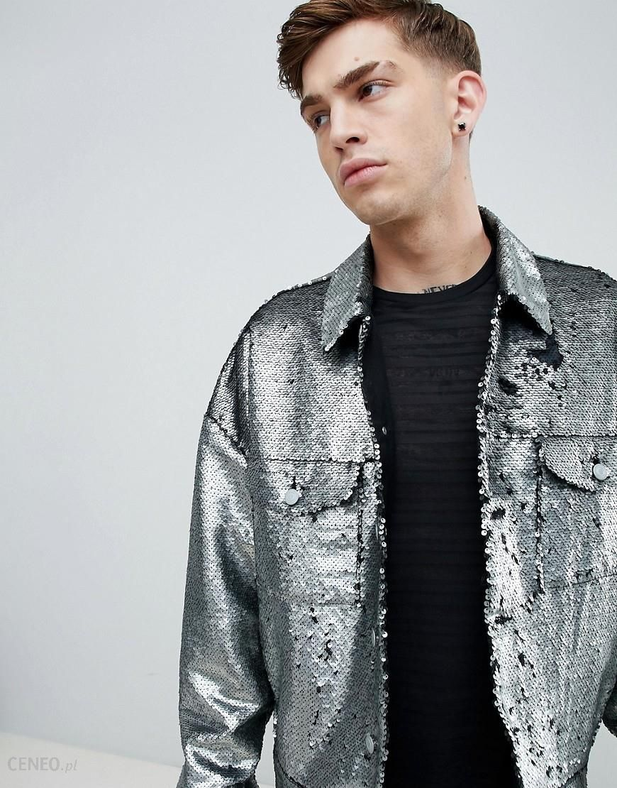 96770b14 ASOS DESIGN festival oversized sequin jacket in silver - Silver - zdjęcie 1