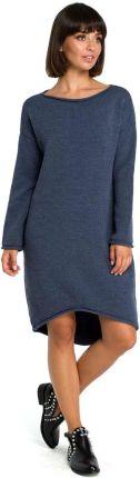 b8ee790388 ... dzianinowa asymetryczna midi niebieska BK006. MOE Niebieska Asymetryczna  Swetrowa Sukienka z Dekoltem w Łódkę