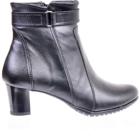 2115e71e Pantofelek24.pl | Czarne botki ze skóry naturalnej na niskim słupku